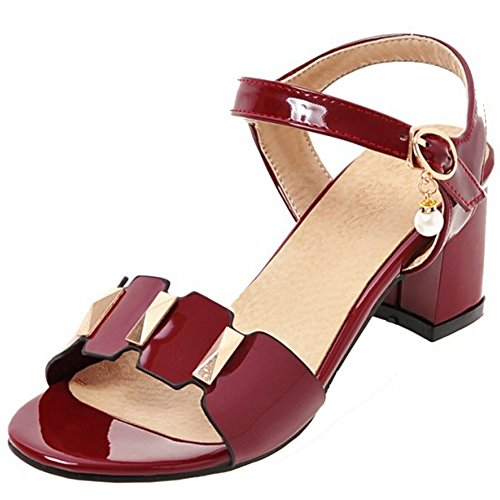TAOFFEN Women Classic Patent Slingback Buckle Pearl Summer Block Heel Sandals Red WuVHpq