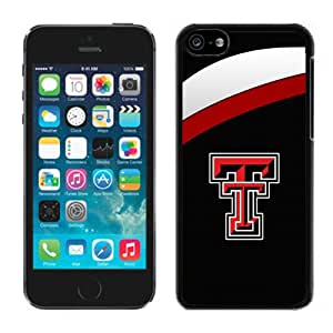 NEW Personalized Customized Iphone 5c Case with NCAA Big 12 Conference Big12 Football Texas Tech Red Raiders 4 Protective Cell Phone Hardshell Cover Case for Iphone 5c Black