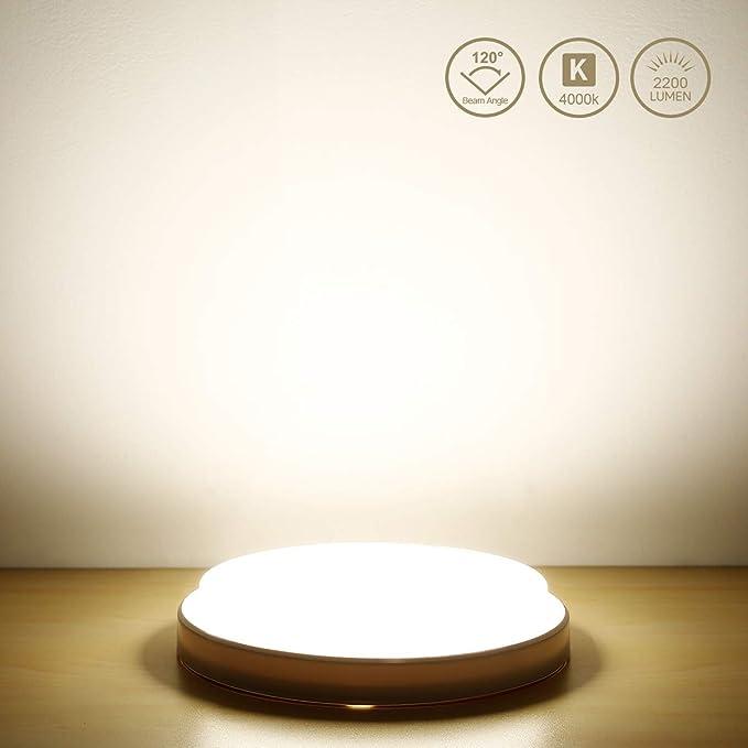LE 24W Lámpara LED de Techo 2200LM Plafón LED Blanco Neutro 4000K Resistente al Agua IP54 para Baño Dormitorio Cocina Sala de Estar Comedor Balcón ...