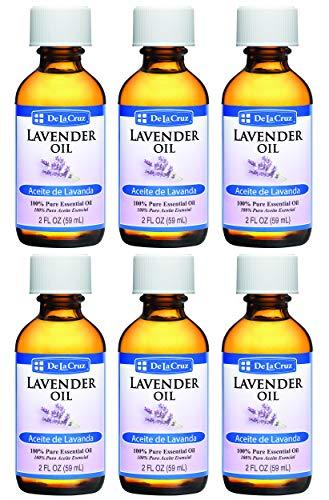 De La Cruz Pure Lavender Essential Oil, Steam-Distilled, Bottled in USA 2 FL. OZ. (6 Bottles)