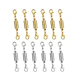 Dsmile Pack of 12pcs Gold Color and Silver Color Magnetic Lobster Clasp for Jewelry Necklace Bracelet