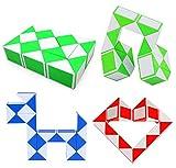 Sensory Toys Set - 4 Pack Colorful Magic Cube Twist Snake Puzzle, Plus 4 Pack Colorful Sensory Fidget Stretchy Strings