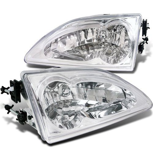 Spec-D Tuning LH-MST94-RS Ford Mustang Euro Crystal Chrome Clear Headlights Head Lamps Pair (Crystal Hyper White Bulbs)