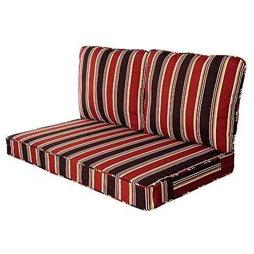 Quality Outdoor Living 29-RS02LV Loveseat Cushion, 46 x 26 3PC, Red Stripe
