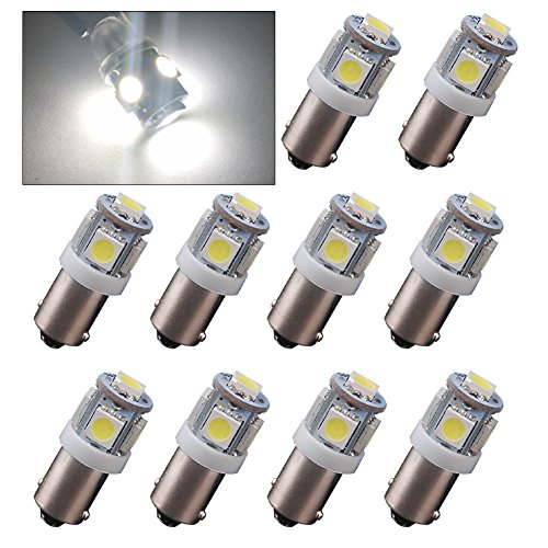 YINTATECH 10x BA9S 5050 5-SMD T11 Interior HID White LED light bulbs 53 57 182 257 1895 6253 64111 64113 (Led Ba9s)