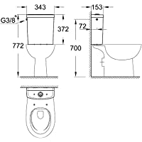 Grohe Bau Ceramic Exposed Flushing Cistern, 39437000