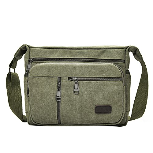 EasyHui Canvas Shoulder Messenger Bag Small Crossbody Travel Purse for Mens Womens Multi-layer Leisure Bag Army Green