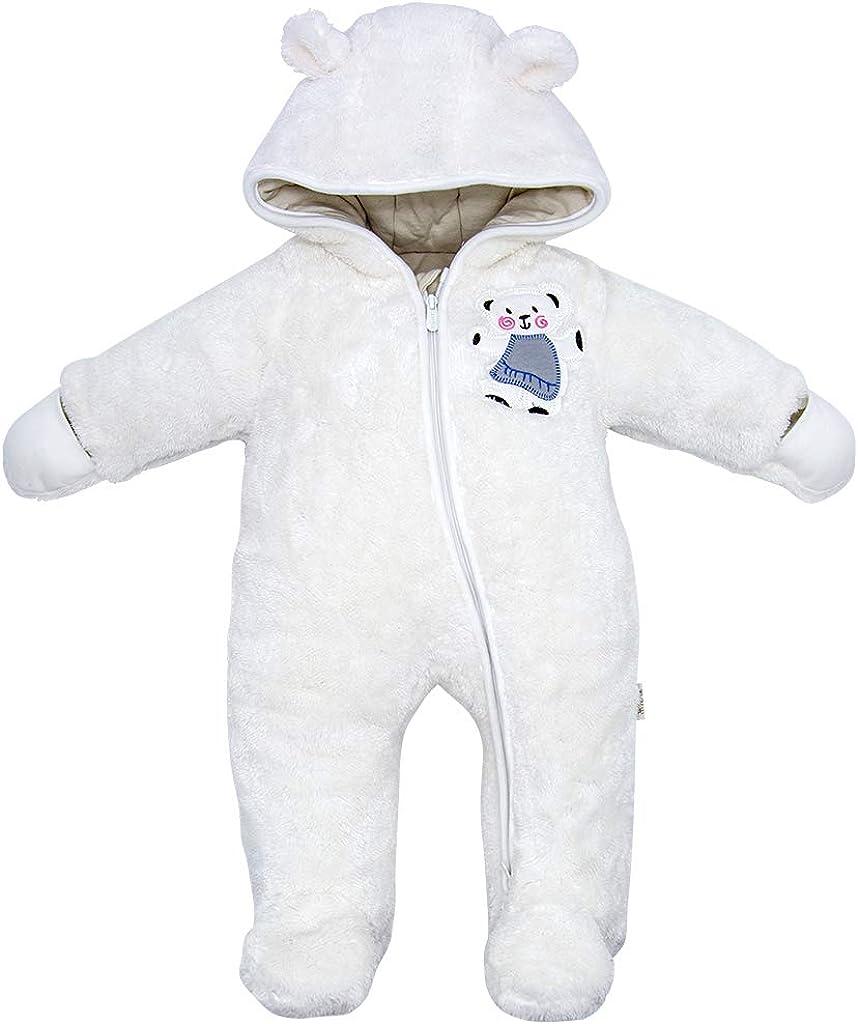 JiAmy Baby Winter Hooded Romper Fleece Pram Snowsuit Hoodie Jumpsuit Infant Outfits