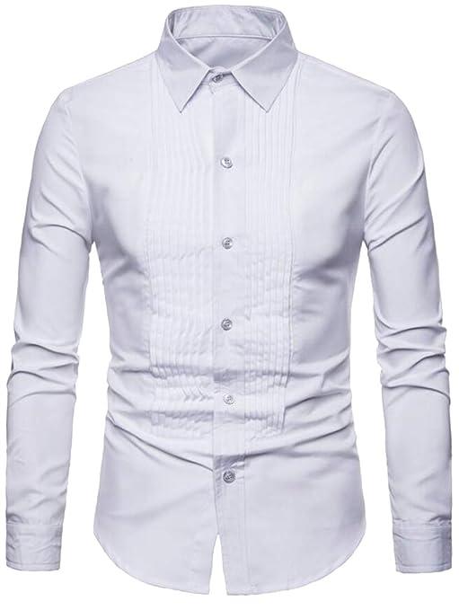 ARTFFEL Men Long Sleeve Plus Size Pure Color Stitching Slim Dress Shirt