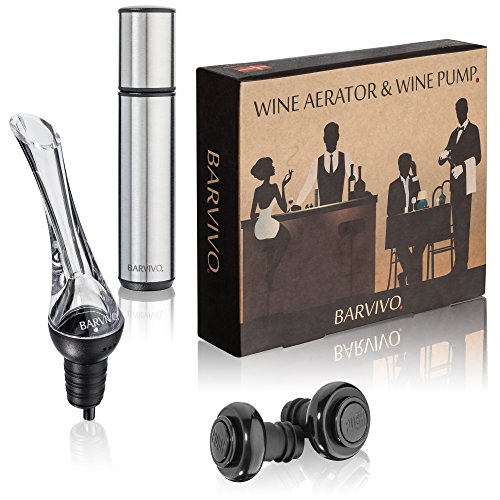 Wine Aerator and Wine Saver Pump with 2 Vacuum Bottle Stoppers by Barvivo - Pour, Aerate, Enjoy and Preserve Your Red Wine, it Will Taste 3 Times Better Than Originally and Stay at its Best for Days. (Wine Vacuum Stopper)