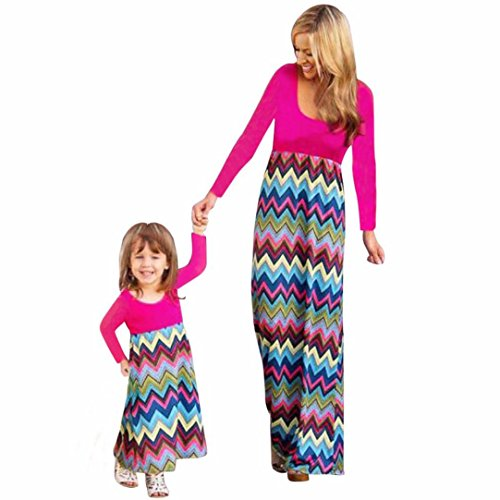 [Wensltd Family Matching Clothes Mommy & Gilr Long Sleeve Geometric Wave Dress (Hot Pink, S(Women))] (Lady Santa Outfit)