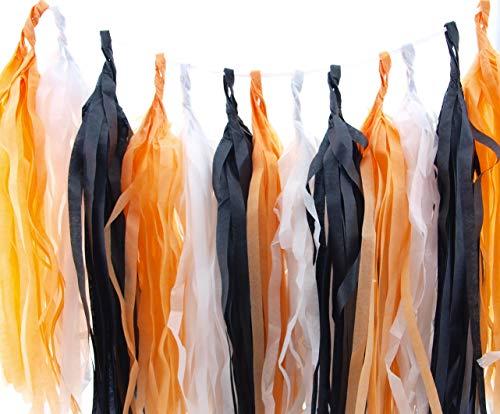 Halloween Garland, Orange, Black & White October Party Tassels (Set of 15) - Spooky Party Supplies, Halloween Tissue Paper Tassel, Halloween Birthday Party Decorations Banner Backdrop -