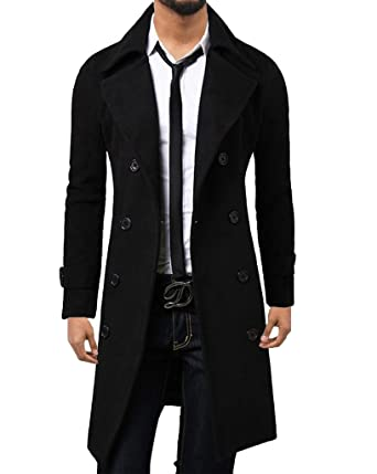 ce55f0216 WSLCN Mens Winter Trench Coat Long Jacket Double Breasted Overcoat ...