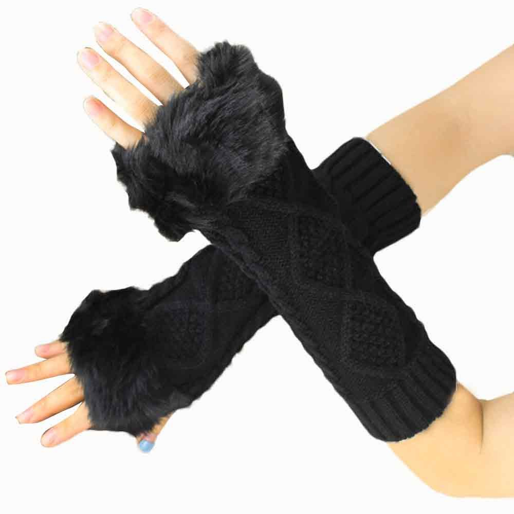 Lanhui Women Fashion Soft Warm Mitten ,Knitted Arm Sleeve Fingerless Winter Gloves (27cm/10.63', Wine)