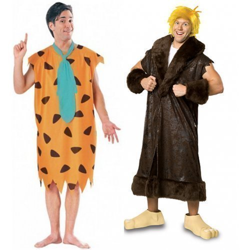Mens Couples Fred and Barney Rubble Flintstones 60s Film/TV Prehistoric Caveman Fancy Dress Costumes Outfits (Fred STD & Barney -