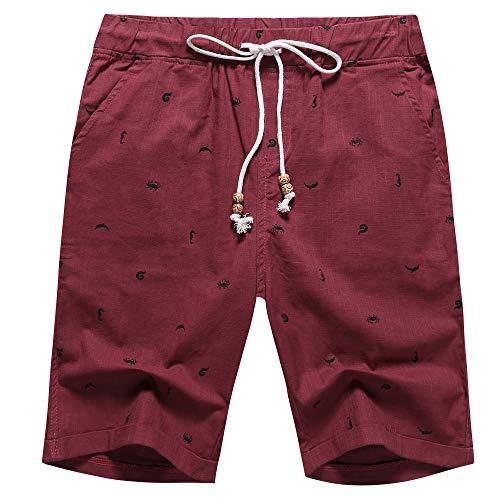 Men's Linen Casual Classic Fit Short (Wine Red Crab, L)