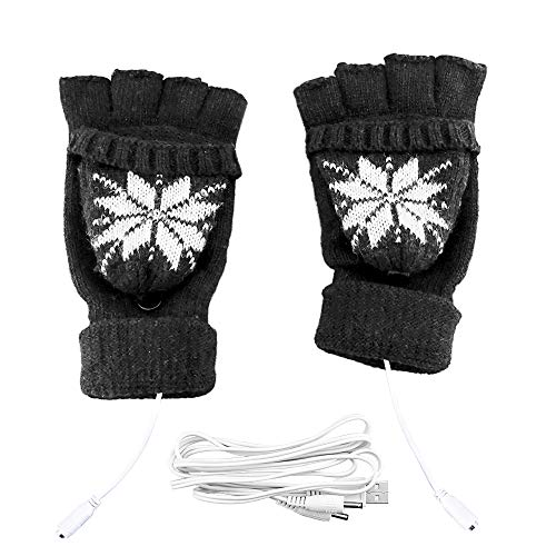 USB Heated Gloves,Unisex Mitten Winter USB Powered Knitting Heated Laptop Gloves?XUNPULS Full & Half Heated Fingerless Hands Warmer-Best Winter Gift Choice (black)