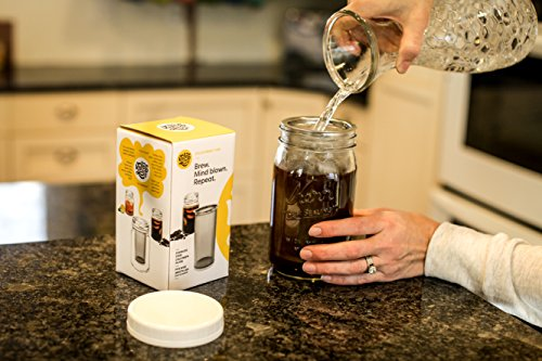Cold Brew Coffee Maker - 1 or 2 Quart Stainless Steel Mesh Reusable Filter - Homemade Strong Iced Coffee Concentrate Brewer Machine and Loose Leaf Tea Infuser - Wide Mouth Glass Mason Jar Carafe Kit by Kolob (Image #4)
