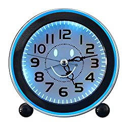 Kaimao Travel Alarm Clock, Non Ticking Quartz Analog Alarm Clock With Nightlight And Snooze Morning Clock, Loud Music Alarms AA Battery Powered (Black)