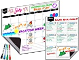 "Magnetic Dry Erase Monthly Fridge Calendar 17''x13'' with Multi-Purpose Planner 8.5""x11"" Plus 4 Bonus Markers. Reusable Refrigerator Planner/Erasable Whiteboard Kitchen Grocery List by KABOOCHY"