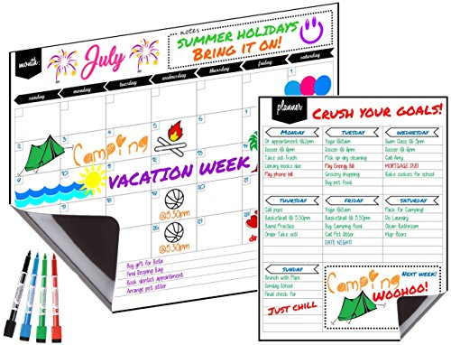 "Magnetic Dry Erase Monthly Fridge Calendar 17''x13'' with Multi-Purpose Planner 8.5""x11"" Plus 4 Bonus Markers. Reusable Refrigerator Planner/Erasable Whiteboard Kitchen Grocery List by KABOOCHY by KABOOCHY"