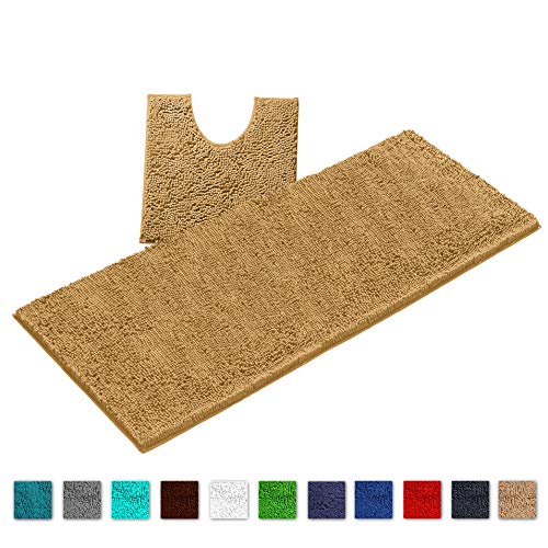 "LuxUrux Bathroom Rugs Luxury Chenille 2-Piece Bath Mat Set, Soft Plush Anti-Slip Shower Rug +Toilet Mat.1"" Microfiber Shaggy Carpet, Super Absorbent Machine Washable Mats(Curved Runner Set, Marzipan)"