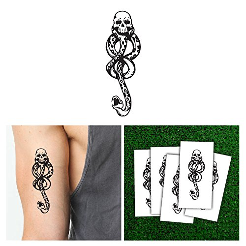 Gold Coloured Costumes Jewellery (Harry Potter Death Eaters Dark Mark Tattoos for Cosplay Accessories and Parties)