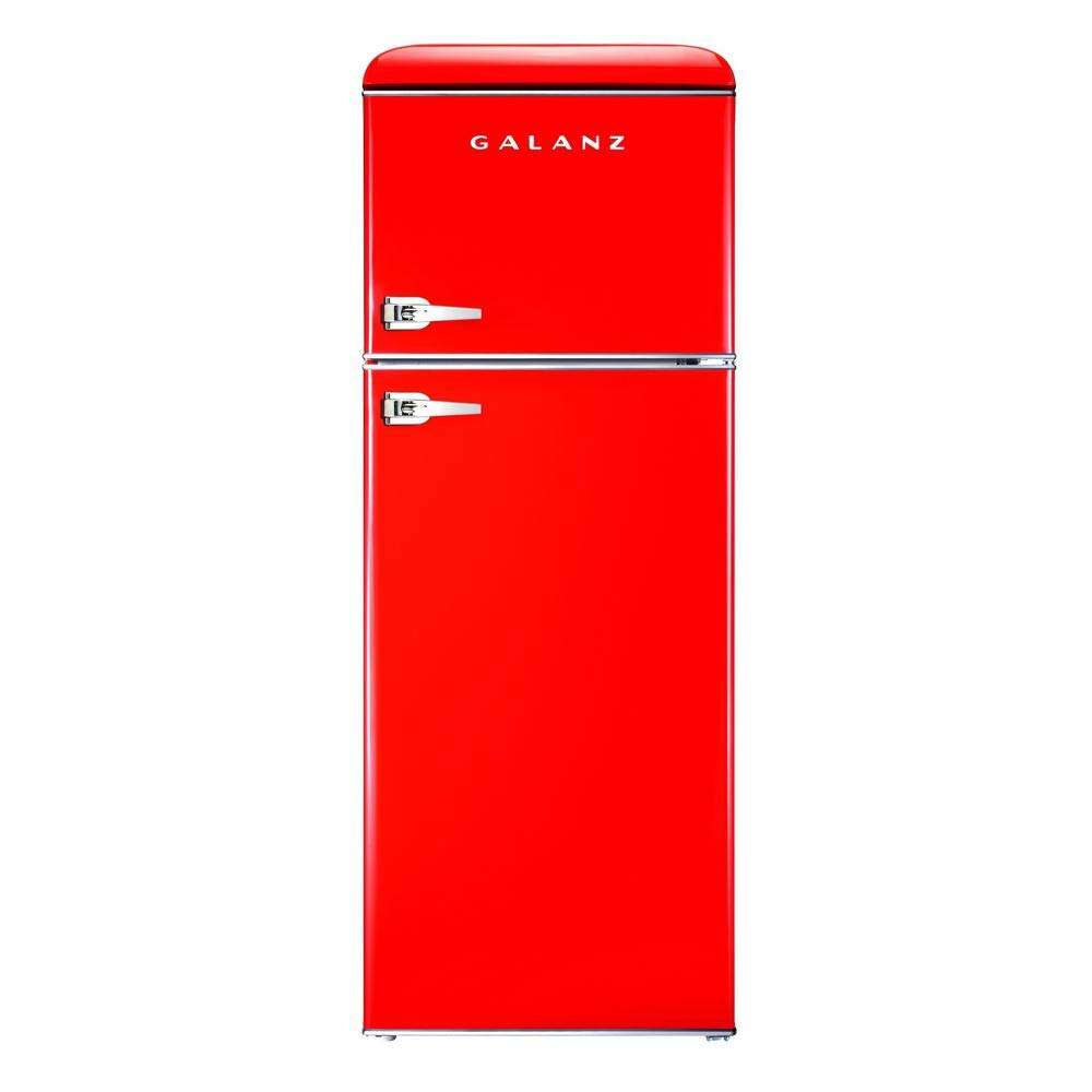 Galanz - Retro Look Refrigerator, 7.6 Cu Ft Refrigerator Dual Door True Freezer (RETRO), ESTAR Red