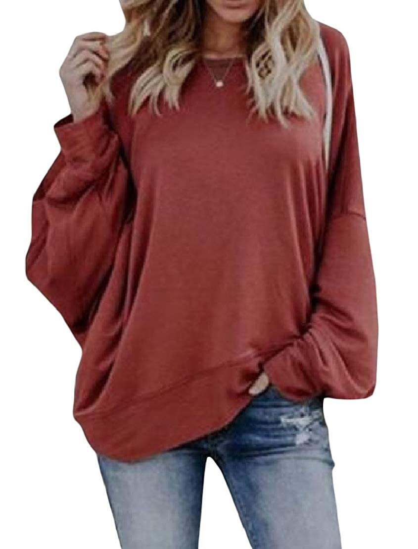 CMCYY Womens Spring Blouse Crew Neck Casual Open Back Long-Sleeve T-Shirt Top Tee