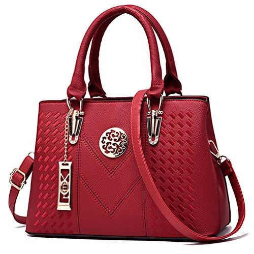 ALARION Satchel Womens Designer Bag Red Purses Bag Messenger 1 and Ladies Tote Shoulder Handbags rr8Sw
