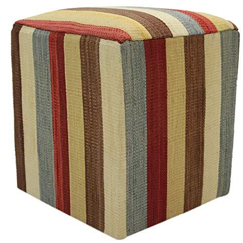 Arshs Fine Rugs Hanes Ivory/Brown Handmade Kilim Upholstered Ottoman 15