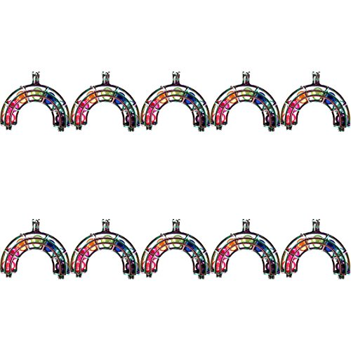 (10 Pack) Rainbow Color Multi Rainbow Beads Cage Locket Pendant Diffuser Charms -