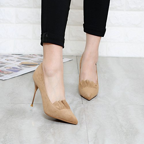 Spring Lace MDRW Heels Point 9Cm Elegant Delicate Fine Shoes With Suede Lady Leisure Shoes A 36 Work Beige qIOAIrHw