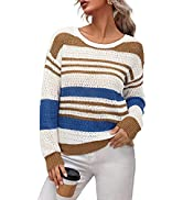 LAISHEN Womens Long Sleeve Striped Color Block Drop Shoulder Sweater Casual Crew Neck Knit Pullov...