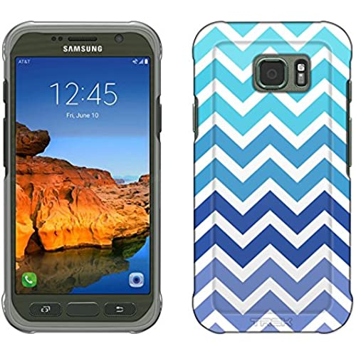 Samsung Galaxy S7 Active Case, Snap On Cover by Trek Chevron Teal Blue White Slim Case Sales