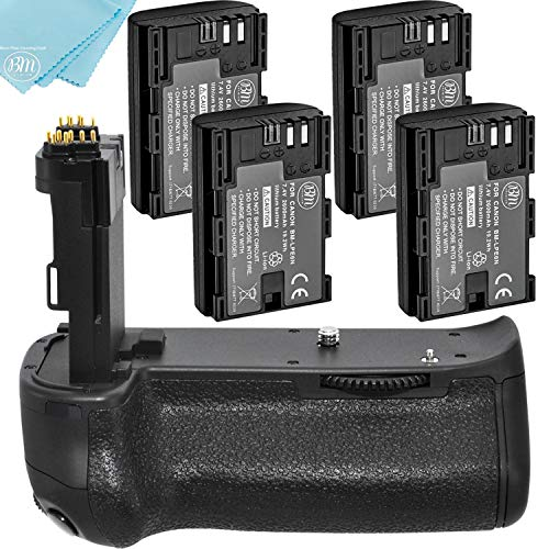 Battery Grip Kit for Canon EOS 70D, EOS 80D Digital SLR Camera Includes BG-E14 Replacement Battery Grip + Qty 4 BM Premium LP-E6 Batteries
