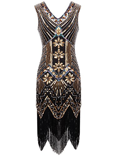 FAIRY COUPLE 1920s Flapper Double V-Neck Sequined Rhinestone Embellished Fringed Dress D20S003(XL,Black+Gold)