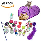PUPTECK 20 packs Cat Interactive Toys Set - 2 way Tunnel,Bell Crinkle Balls,Sisal Mouse, Catnip toy, Feather Teaser Wand