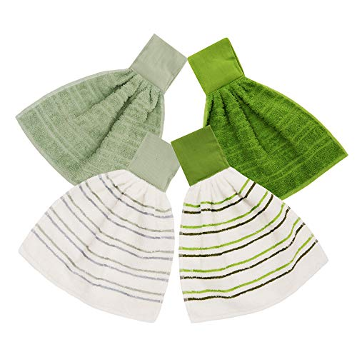 "ISTOWEL Hanging Kitchen Towels with Loop 100% Soft Cotton. Super Absorbent Hand Towels in Convenient 12x12"", Machine Washable. Stylish & Attractive Choose 2 or 4 Piece Sets in Green or Browns"