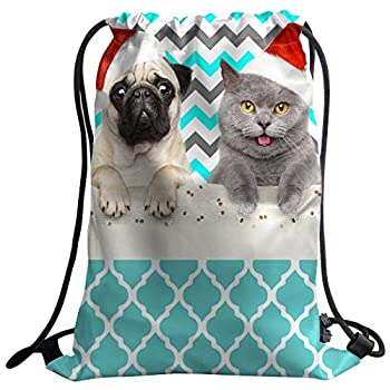 Gym Bag Sack Drawstring Sports Backpack Blue White Chevron Dogs Cats