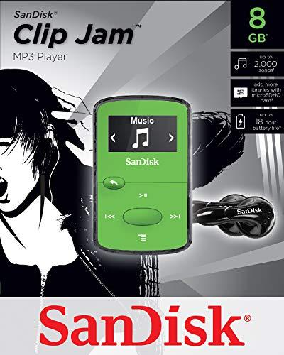 SanDisk 8GB Clip Jam MP3 Player, Green - microSD card slot and FM Radio - SDMX26-008G-G46G