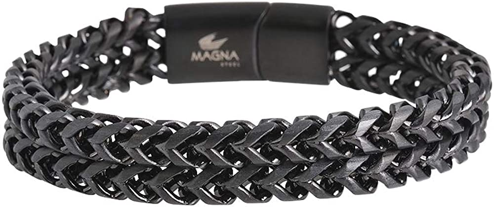 Magna Steel Men's Stainless Steel Double Franco Chain Bracelet with Magnetic Closure