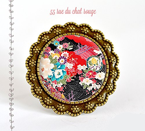 Grosse bague cabochon, motif japonais, art floral japon, fleurs, seigahia, multicouleur
