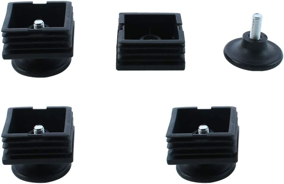 uxcell Table Adjustable Leveling Foot Square Tube Insert 38 x 38mm 4 Sets
