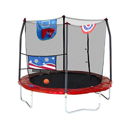 Skywalker Trampolines Stars & Stripes Jump N' Dunk 8' Trampoline with Safety Enclosure Basketball Hoop