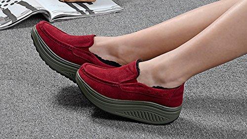 Solshine Damen Echtleder Warm Gefütterte Plateau Loafers Fitnessschuhe Slipper Freizeit WALKMAXX Schuhe Rot