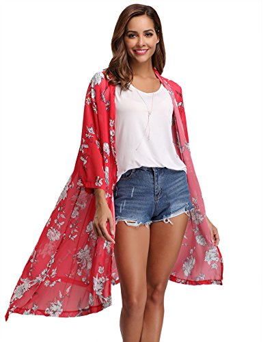 Gilet Ourlet Long Femme Boh Robe Chiffon Cardigan Long Pareo Kimono Ample Plage Poncho Veste Floral Casual vqrvHw7f
