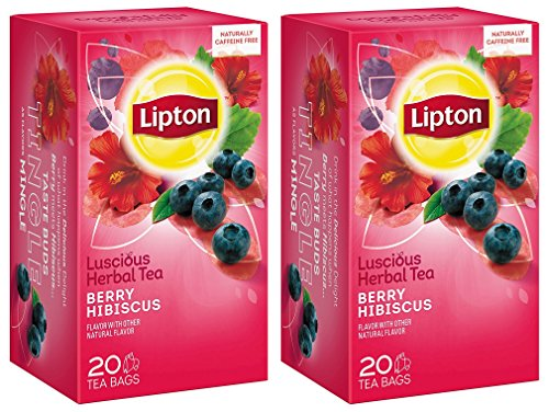 Lipton Luscious Herbal Tea - Berry Hibiscus - 20 Count Tea Bags Per Box - Pack of 2 ()