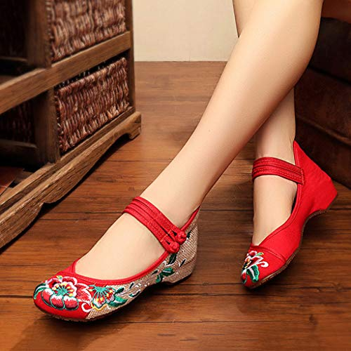 in dimensioni piatte Red Red 34 vecchie moda stoffa ricamate Pechino rosse sposa eleganti Scarpe di Scarpe da traspiranti da ballo Scarpe XHX Scarpe casual Colore gxYSBqwnaW
