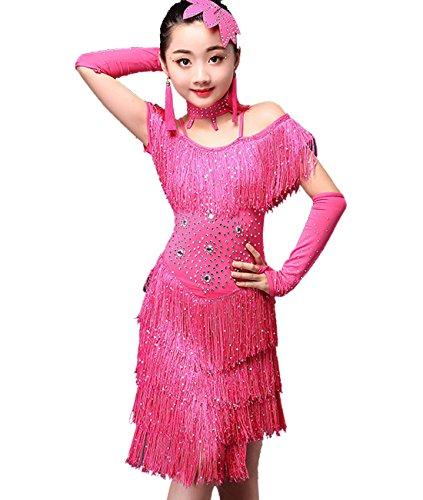 Femirah Girls Sleeveless Halter Tassel Dress Latin Salsa Dancewear Clothes (Size 140, Rose - Chaos 038